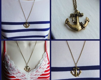 Anchor Necklace. Nautical Necklace. Nautical Jewelry. Navy Wife. US Navy. Antique Gold. Beach Necklace. Boater. Vintage Inspired Necklace