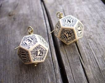 D12 steampunk dice earrings dice jewelry dnd dungeons and dragons toothed bar pathfinder dice jewelry steam punk earrings dice
