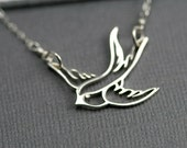 Bird Necklace - Small Sterling Silver Swallow Necklace - Simple Every Day Jewelry - Modern Chic Jewelry