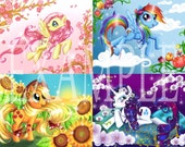 "SPECIAL DEAL All 4 current ""Ponies and Flowers"" 8.5 x 11 art prints"