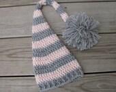 Newborn Elf Hat elf hat newborn photo prop crochet elf hat stocking hat long tail elf hat baby hat elf hat with tail baby girl hat