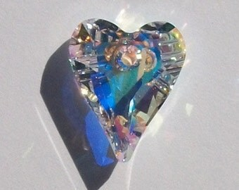 Swarovski Elements Crystal Pendant crystal Wild HEART Pendant Style 6240 CRYSTAL AB - Available in 12mm, 17mm, 27mm