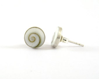 8 mm. Natural Shiva Eye Shell with 925 Sterling Silver Post Stud Earrings