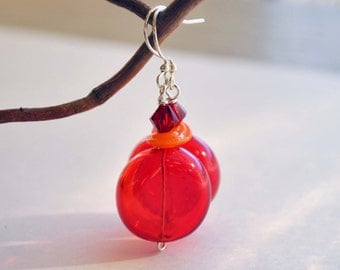 Red Disc Earrings, Hollow Glass Earrings
