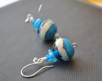 Ocean Ball Earrings, Lampwork Glass Earrings, Blue Earrings