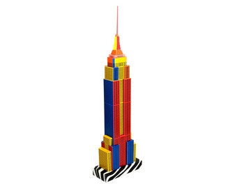 Empire State Building, assembled model of NYC skyscraper || Pop-art Edition in full color || 18 inches = 45 cm tall