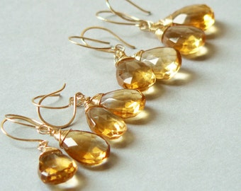 Artisan Huge Citrine and 14kt Gold Filled Earrings Set 4 Pair. Gifts under 200. Weddings, Bridal, Bridesmaids