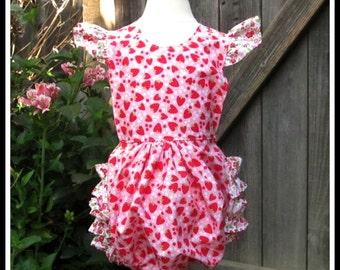 Baby Girl Strawberry Ruffle Bottom Romper-Toddler Romper- Strawberry Romper- Summer Romper- 3 6 9 12 18 months- 2 3 Years
