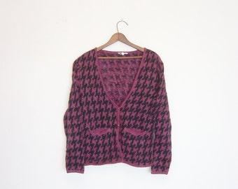 vintage 80s herringbone pattern slouchy cardigan sweater.