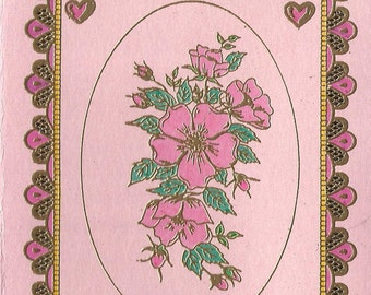 Framed in Wild Rose Bouquet with Little Hearts