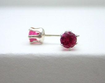 Ruby Sterling Silver Stud Earrings - Birthstone Earrings - Red - Post Earrings - 4 mm Ruby Gemstone