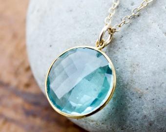 Gold Light Aqua Quartz Bezel Necklace - 14Kt Gold Fill - Gemstone Necklace