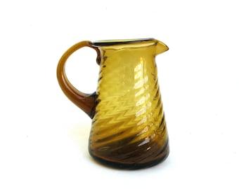 vintage hand blown amber glass creamer  ...   jug  ...  petite pitcher
