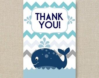 Whale Baby Shower Thank Yous - a Splash of Boy Blue Chevron Digital Printable File