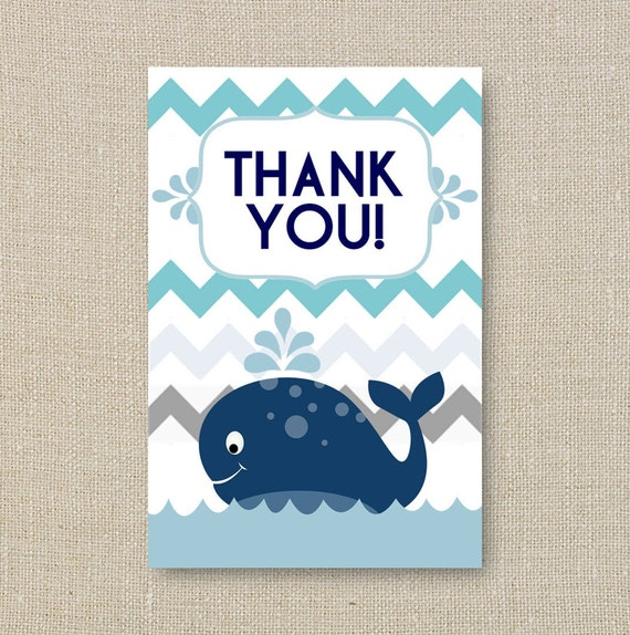 whale baby shower thank yous a splash of boy blue chevron digital