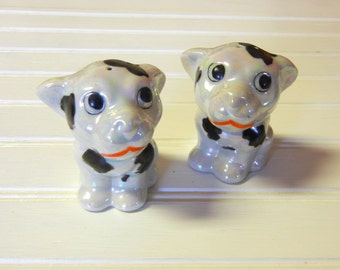 Vintage Collectible Puppy Dog Salt and Pepper Shakers Black and White