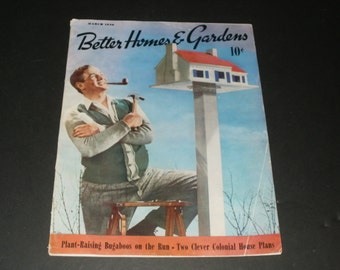 Vintage Better Homes and Gardens Magazine March 1940 -- Old Car Ads - Art - Scrapbooking - Collectible