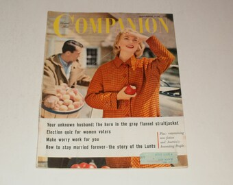 Vintage Womans Home Companion Magazine November 1956 - Retro Vintage Ads - Fashions - Paper Ephemera Collectible