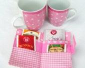 Tea Bag Wallet - Mini Wallet - pink flowers, stripes, dots