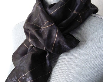 Silk Scarf Hand Dyed in Black and Gold Highlights