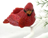 Cardinal Ornament Beaded Clip-On Decoration MADE TO ORDER