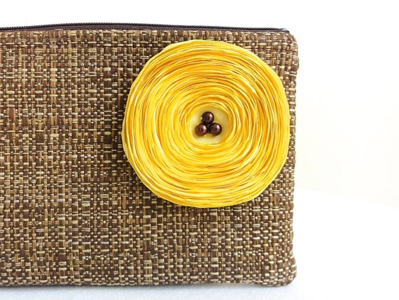 Chocolate Brown Clutch Handbag / Lemon Yellow Satin Flower
