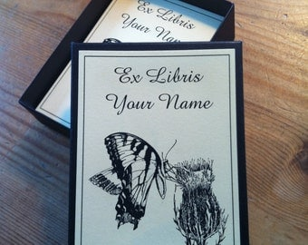 Booklabels Butterfly on Thistle 50 Personalized Ex Libris Bookplates
