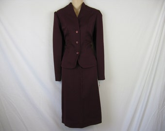 70s maroon skirt suit set secretary jacket and skirt plus size XL new old stock