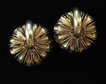 Monet Sterling Silver Modernist Earrings, Gold Vermeil