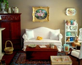 1/12th Scale White Shabby Chic Sofa