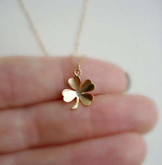 Four Leaf Clover Necklace Gold Minimalist Layered Jewelry Choose Your Pendant Shamrock, Camera, Anchor, Heart, Honey Comb
