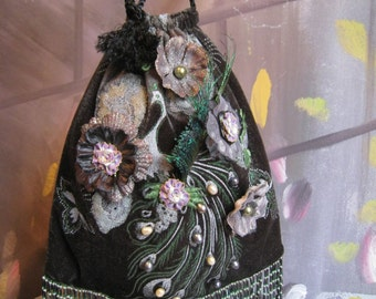 """Vintage Lace Florals Pearls Beaded Peacock Handbag Purse """"Made To Order"""""""