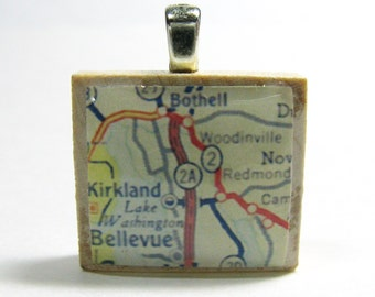 Bellevue & Kirkland, Washington and the East Side - 1962  vintage Scrabble tile map pendant