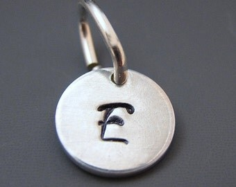 Small Sterling Silver Initial Charm - Hand stamped