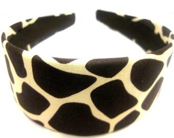 Brown Giraffe Print Headband 2 Inch