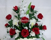 Red Roses and Real Touch Latex Calla Lily Silk Flower Floral Arrangement / Centerpiece