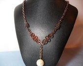 Bronze Beauty Y Necklace with Vintage Pearl Dangle, June 2013