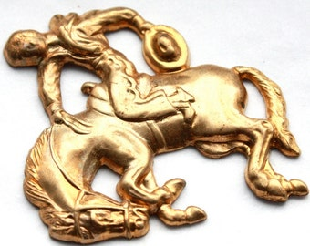 3 Vintage Rodeo Horse Rider Brass Stampings