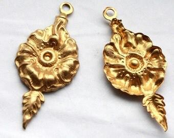 4 Vintage 1970's Victorian / Art Nouveau Brass Floral Pendant Stampings