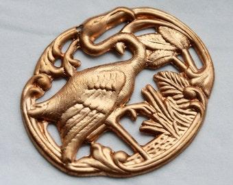 2 Vintage 1960s Art Deco Flamingo Stampings // Art Nouveau Jewelry