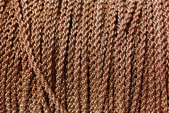 Copper Braided Rope : Feet rare vintage copper rope chain small twist