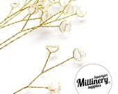 6 Ivory Acrylic Bead Picks on Gold Wire for Millinery and Wedding Flower Bouquets