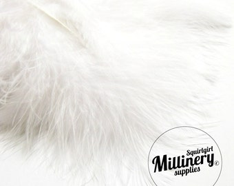 20 Fluffy Marabou Feathers for Millinery Hat Trimming & Crafts - White