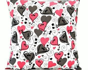 Valentine Hearts Pillow Cover Pink Gray White Black Scroll Retro Decorative 16x16