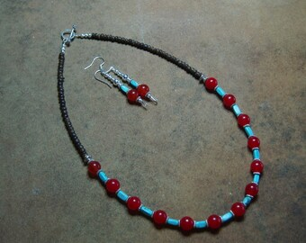 AAA Rare Burnt Orange Topaz Gemstones with American Blue Turquoise .925 Silver Necklace and Earrings