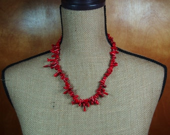 Long Red Coral Branche Leaves,  .925 Sterling Silver Necklace