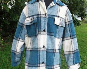 Mens 60s Jacket / Vintage Costume / Vintage Jacket / Flannel Jacket / Plaid Jacket in Blue White and Black Plaid Mens Size S
