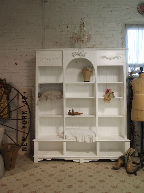 Painted Cottage Shabby White Farmhouse China Cabinet Bookcase