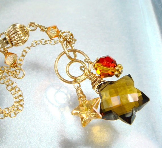 Gemstone Star Necklace, Gold Necklace, Star Briolette Gemstone, AAA Cognac Topaz, CZ Star, Fire Opal Crystal, Celestial, Heavenly.