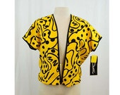 RESERVED  Yellow and black abstract jacket, 1980s shirt, batwing sleeves, New Old Stock with tags, by Dotti